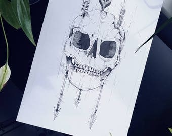 A4 art work.  Original art. Gothic art. Bow and arrows. Skull drawing. Pen and ink drawing