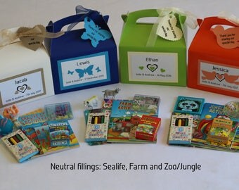 Children's personalised wedding boxes/ Favours Filled - Wedding activity packs with range of fillings
