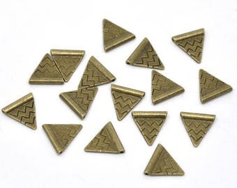 5 triangles 14x14mm bronze spacer beads