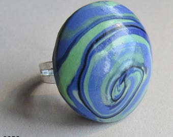Purple and green polymer clay rings (#0058, #0059 and #0061)