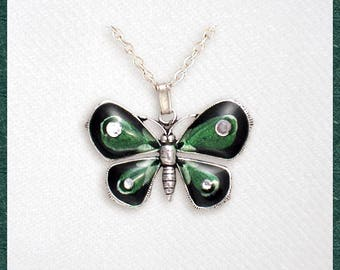 Emerald green butterfly, pendant with chain