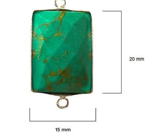 BLUE TURQUOISE RECTANGLE 15X20 mm silver double s