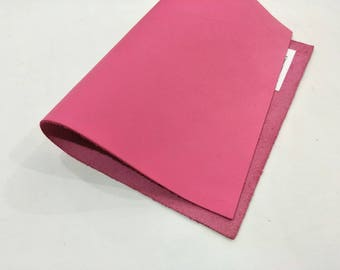 "Leather Scrap, Genuine Leather, Leather Pieces, Pink, Size 8.25"" by 11.5""  Leather Scrap for DIY Projects."