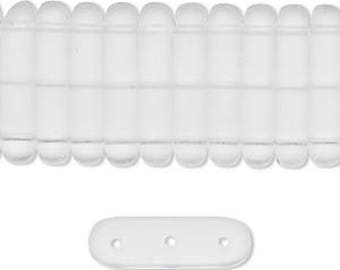 Clear Spacer Bar, Czech Pressed Glass, Matte, 3 hole Separator Bar, 21x5mm, 4 Each, D1023