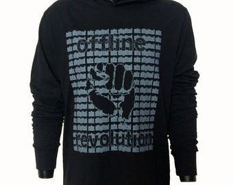 Apostel13 Unisex Hoodie-Shirt Hoody Nix Digital Offline Revolution Black Blue Size: S-XXL