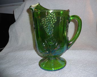 Green Harvest Grape Carnival Glass Pitcher