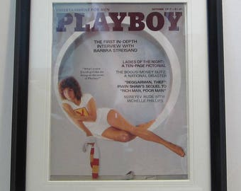 Vintage Playboy Magazine Cover Matted Framed : October 1977 - Barbra Streisand