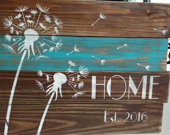 Pallet Dandelion Home sign with personalized established date
