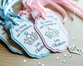 12 CT Princess custom favor tags, crown favor tags