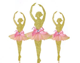 3 CT Ballerina Cake topper, Pink and Gold Birthday decoration, Dance birthday decoration, tutu cake topper
