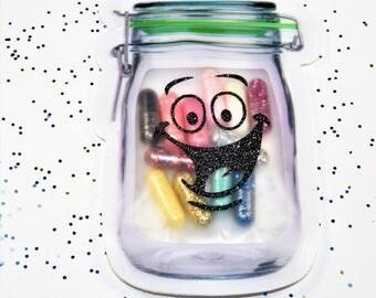 Happy Pills, Mason Jar Pouch, Glitter Capsules, Happy Vinyl Decal, Mini Glitter Bomb, Unicorn Poop Pills, Gag Gifts, LGBTQ, Glitter Pills