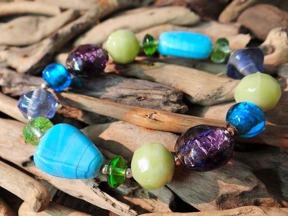 Mermaid Glass Beaded Stretch Bracelet Aqua Blue Teal Green Mint Purple Lavender Foil Foiled Hand Blown Art Beads Bead Cuff Bangle Czech