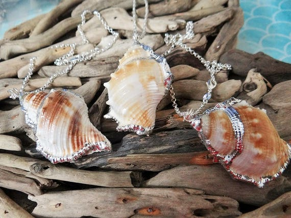 Conch Shell Necklace Genuine Natural Silver Plated Dipped Seashell Sea Shell Ariel Trumpet Spiral The Little Mermaid