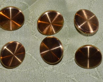 set of six fancy gold tone metal buttons