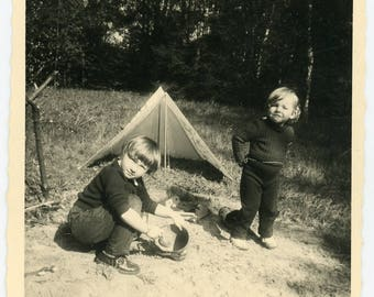vintage photo 'Camping/Playing' vernacular photos snapshot, children kids play in sand tent, sunny summer outdoors