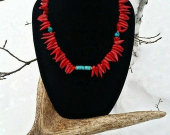 Coral, Sleeping Beauty Turquoise, Swarovski Crystals and Turquoise Necklace