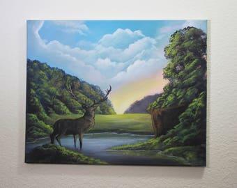 Deer Canvas Landscape Acrylic Painting