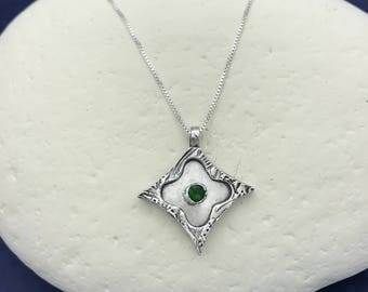 Silver Layered Star with Green CZ