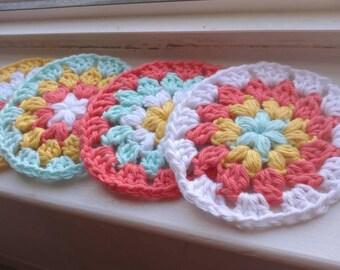 Coaster set, 100% cotton coasters, crochet coasters, gift set