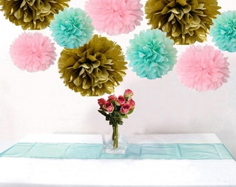 18PCS Mixed Pink Gold Mint Tissue Pom Poms Girl Baby Shower Wedding Anniversary Party Garland Nusery Decoration