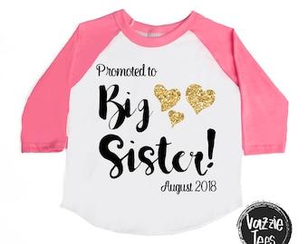 Big Sister Shirt - Promoted to Big Sister - Raglan Tee - Big Sister to be shirt - Big Sister Shirt - Big Sis Shirt - Pregnancy Announcement