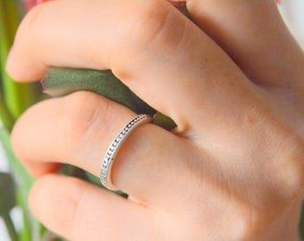 Thin Petite Small Ring, Silver Wedding Ring, Midi Joint Simple Ring,  Elegant Boho