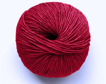 Millamia Naturally Soft Merino + Patterns - 6.50 +.95ea to Ship - 136 yds - Lipstick Red 108 - Soft, Squishy, Great Stitch Definition.