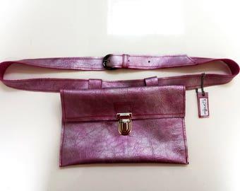 Iridescent Pink/Purple leather belt bag