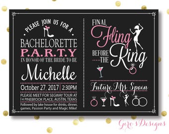 Bachelorette party invitation, bachelorette party pink style invites, girls night out printable invitations, Bachelorette Party Invite