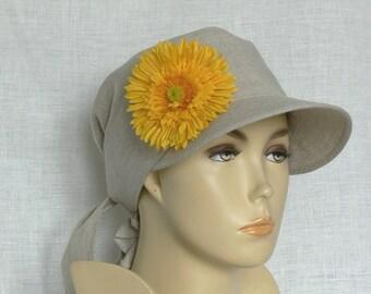 Linen cap, summer cap, women's cap, Oeko Tex