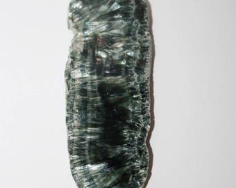 Polished clinochlore specimen, seraphinite gemstone, 80x30x4 mm