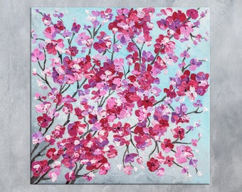 Nursery art, Cherry Blossom, Floral art, Pink Flowers, Living room decor, Spring decor, Abstract art, Palette knife art, Textured painting
