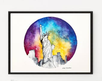 Statue of Liberty, New York painting, Watercolor Painting, Illustration art, City art, Travel art print, Printable art, Architecture art