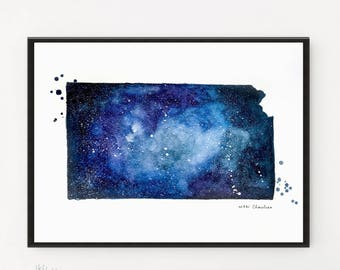Kansas State Map, Watercolor Painting, Illustration Print, Galaxy, US Travel, Modern art, Map art, Map gift, Map print, Printable art