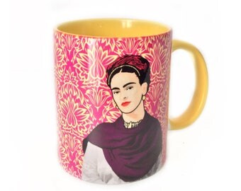 Mug - Cup interior color, with decorative Frida Kahlo Mexican inspired on the outside