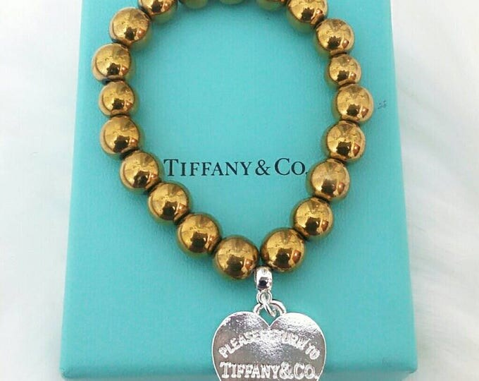 Designer Inspired Gold Hematite Ladies Charm Bracelet, gifts under 40, gifts for her, anniversary gifts, birthday gifts