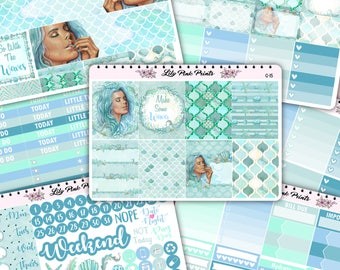 Go With The Waves Weekly Kit Stickers (G-15,G-16,G-17,G-19,G-20,G-21,G-22) - Perfect for Erin Condren Life Planners / Journals / Stickers.