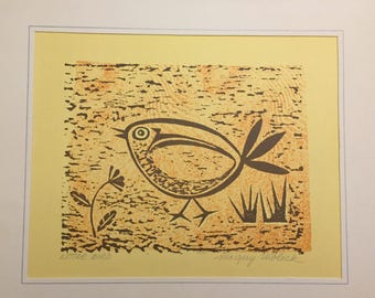 Mid Century Modern 1960's Wood Cut Print by Listed Artist Margery Niblock