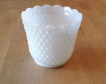 Fire King milk glass planter/hobnail planter