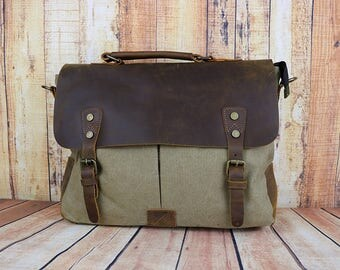Leather Messenger Bag Men, Canvas Messenger Bag Men, Waxed Canvas Messenger bag, Handmade Bag, Canvas Crossbody Bag,Mens Messenger Bag