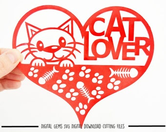 Cat lover paper cut svg / dxf / eps / files and pdf / png printable templates for hand cutting. Digital download. Small commercial use ok