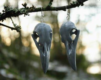Small raven skull earrings, silver (pair)