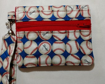 Baseball Small Wallet with Wrist Strap, Zipper, Card Slots, Velcro Closure Red, White and Blue