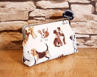 PUPPY LOVE - Cute puppy, dog, cream clutch bag