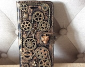 Steampunk Mobile iPhone 7 Case iphone 6 case iphone 6s case wallet card holder cyperpunk 3D handmade metallic VEGAN Fathers Day Gift