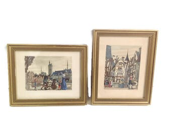 pair of vintage french frames, old labors prints
