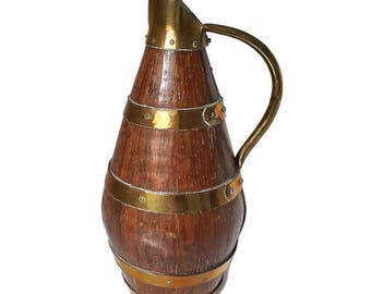 vintage french wooden cider pitcher, antique jug