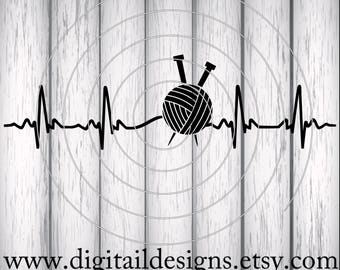 Knitting EKG Svg - Dxf - PNG - Fcm - Eps - Ai - Cut file For Silhouette - Cut File for Cricut - Yarn EKG Knitting Heartbeat -Knitting svg