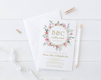 Floral Wedding Invitation, Pink and Gold, Professionally Printed or Digital Printable File, Wedding Invites, Watercolour, Brianna Suite