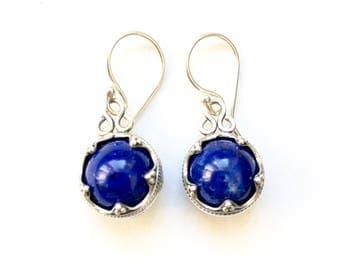 Lapis Lazuli Silver Earrings Gotland VIKING KRISTALL Filigree